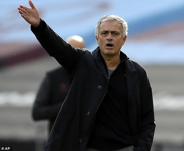Jose Mourinho looks frustrated when his Tottenham side lost to West Ham on Sunday afternoon - he is now the bookies' favorites to become the next Premier League manager to be fired.